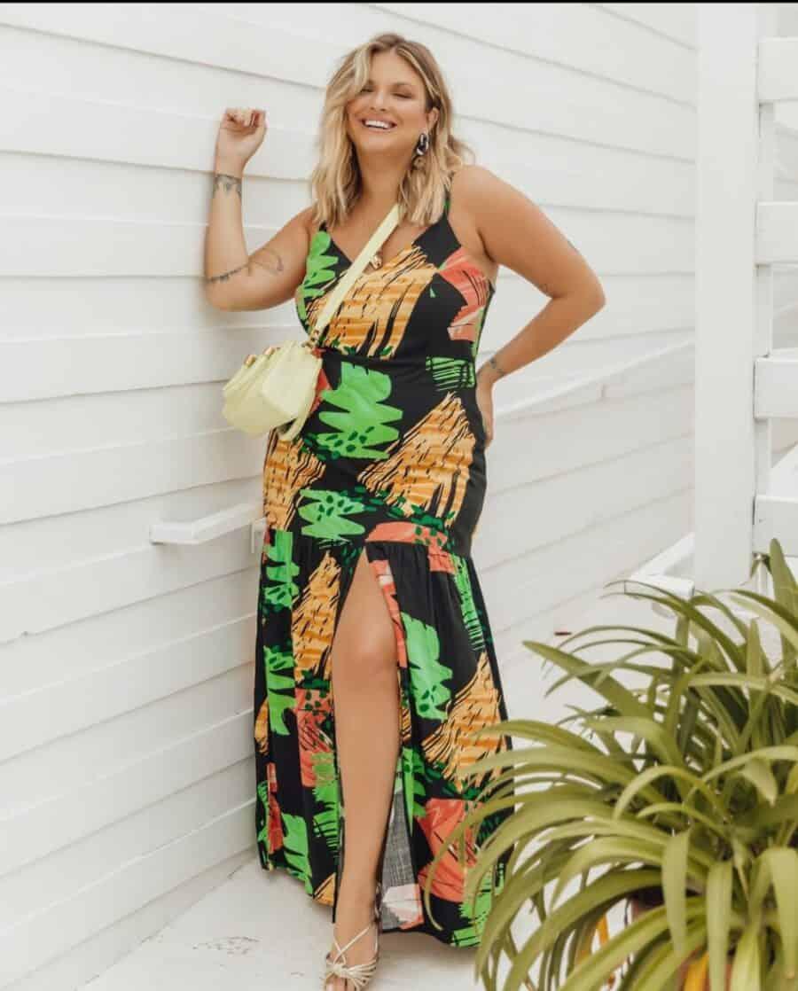 Vestido Estampa Preta Longo Plus Size